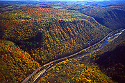 Aerial, Pine Creek Gorge and Pine Creek. Autumn, Pennsylvania