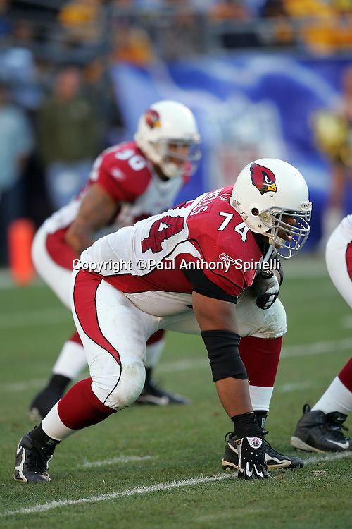 SAN DIEGO - DECEMBER 31:  Reggie Wells #74 of the Arizona Cardinals gets set for the snap against the San Diego Chargers at Qualcomm Stadium on December 31, 2006 in San Diego, California. The Chargers defeated the Cardinals 27-20 to secure the number one seed in the AFC playoffs. ©Paul Anthony Spinelli *** Local Caption *** Reggie Wells