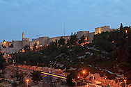 Pre-dawn view of a section of the exterior wall of the Old City of Jerusalem between the Jaffa Gate and Mount Zion. WATERMARKS WILL NOT APPEAR ON PRINTS OR LICENSED IMAGES.