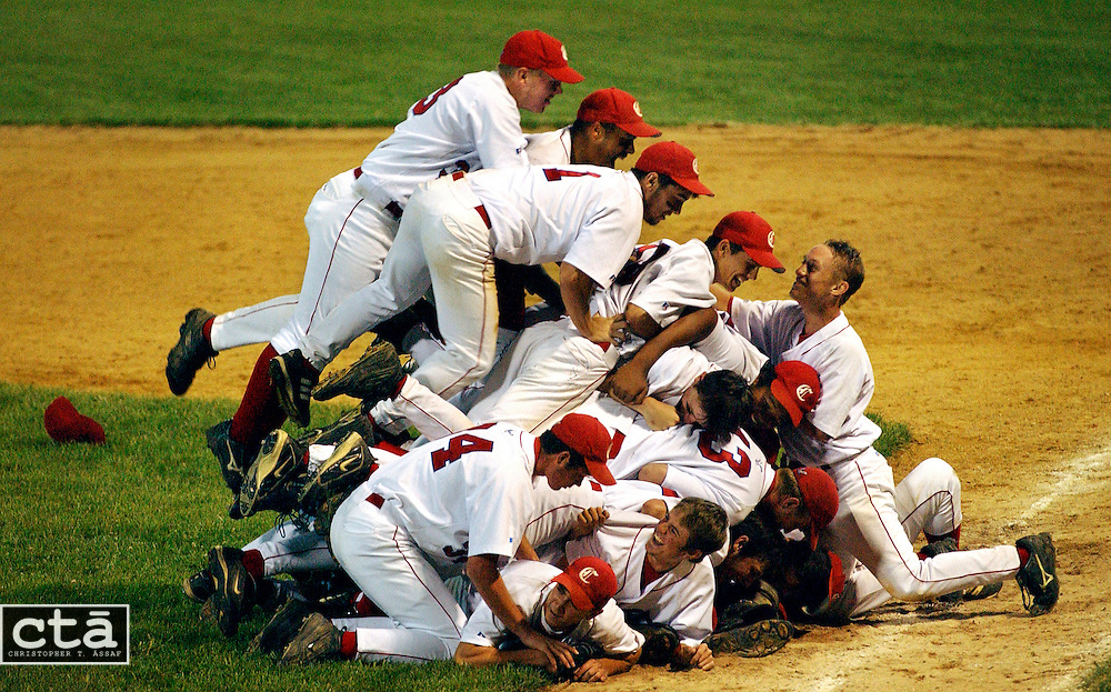 The Sentenial High School baseball team celebrates after winning the 3A Maryland State Baseball championship. They beat C.M. Wright 10-1 in the game at Joe Cannon Stadium in Severn.