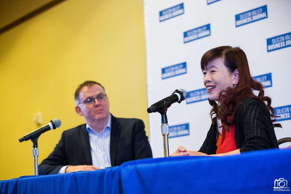 Lily Mei, City of Fremont Mayor, talks with Josh Moss, Silicon Valley Business Journal Publisher, during the Silicon Valley Business Journal's Future of Fremont event at Fremont Marriott Silicon Valley in Fremont, California, on June 18, 2019.  (Stan Olszewski for Silicon Valley Business Journal)