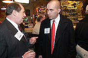 Tom Humphries of the Youngstown-Warren Regional Chamber and Phil Kidd of Defend Youngstown at the Valley Magazine launch party at the Youngstown Crab Co. on Feb. 21, 2008.