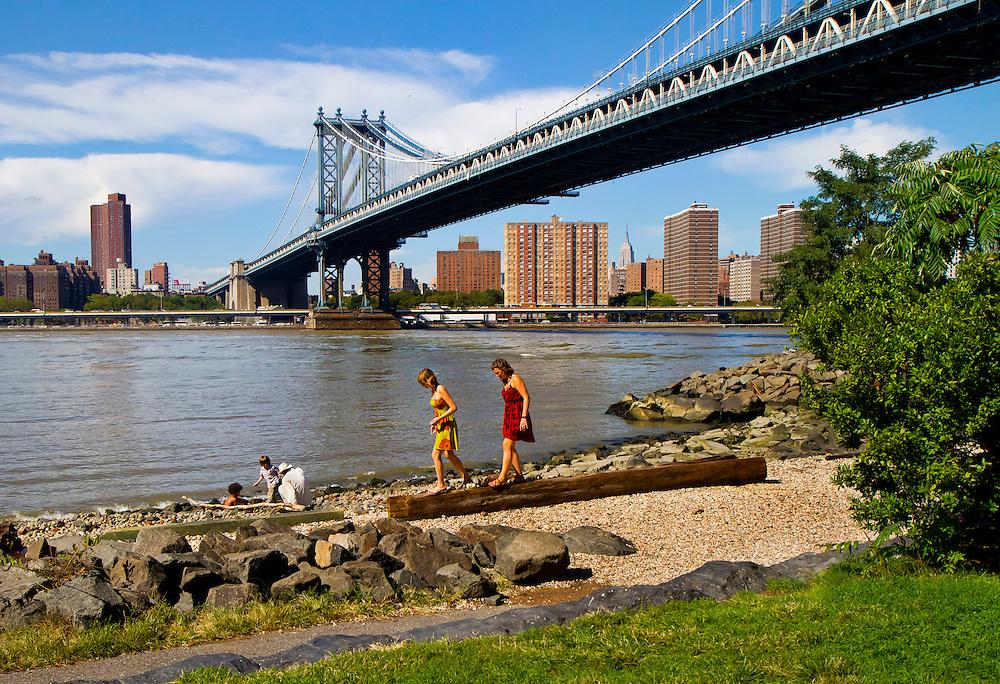 Picture perfect day in Brooklyn Bridge Park looking toward the Manhattan Bridge.