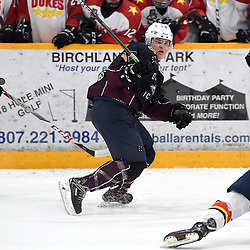 DRYDEN, ON - MAY 1: Eric Stout #14 of the Dryden GM Ice Dogs follows the play in the first period during Game Two of the Central Canadian Junior Championship during the 2018 Dudley Hewitt Cup on May 1, 2018 at the Dryden Memorial Arena in Dryden, Ontario, Canada. (Photo by Andy Corneau/DHC via OJHL Images)
