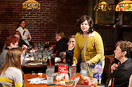 "(from left, standing) Heather Gorby as Halma Grey and Tamra Francis as Maggie Paddock during Mayhem & Mystery's production of ""Game Night Grudge"" at the Spaghetti Warehouse in downtown Dayton, Monday, March 4, 2013."