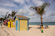 Colorful kiosks along Junkanoo Beach in Nassau, Bahamas