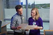 20150531, Tuesday, May 31, 2016, Boston, MA, USA, Brigham and Women's Hospital Development Newsletter imagery.<br /> <br /> Brigham and Women's Hospital medical residents Elizabeth Richey, MD, and Constantinos Michaeldis, MD MS, are working cooperatively on a research project supported by a generous gift to Brigham and Women's Hospital.<br /> <br /> ( lightchaser photography &copy; 2016 )
