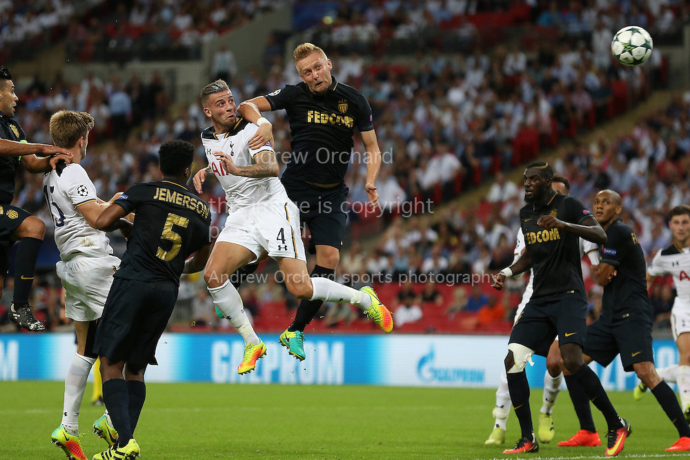 GOAL / CELE - Toby Alderweireld of Tottenham Hotspur (4) heads the ball from a corner to score his sides 1st goal to make it 1-2. UEFA Champions league match, group E, Tottenham Hotspur v AS Monaco at Wembley Stadium in London on Wednesday 14th September 2016.<br /> pic by John Patrick Fletcher, Andrew Orchard sports photography.