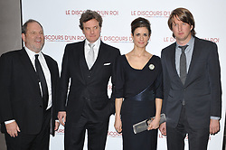 Producer Harvey Weinstein, Actor Colin Firth and wife Livia Giuggioli and Director Tom Hooper attending the premiere of the film 'Le Discours D'Un Roi' held at the Cinema UGC Normandie in Paris, France, on January 4, 2011. Photo Thierry Orban/ABACAPRESS.COM  | 258756_001