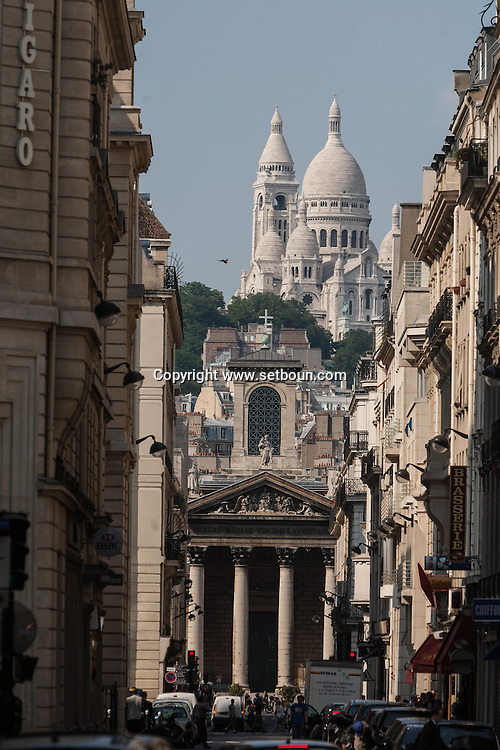 France. Paris . 9th district. sacre coeur on montmartre hill and notre dame de lorette church , rue lafitte