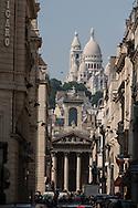 France. Paris . 9th district. sacre coeur on montmartre hill and notre dame de lorette church , rue lafitte