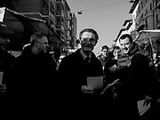 Attilio Fontana, candidato alle elezioni regionali della Lombardia per la coalizione di centro-destra, visita un mercato insieme al leader della Lega Nord Matteo Salvini. Milano, 22 gennaio 2018. Guido Montani / OneShot<br /> <br /> Attilio Fontana, center-right candidate to the presidency of Lombardy, walks trough a market with leader of Lega Nord Matteo Salvini. Milan, 22 january 2018. Guido Montani / OneShot