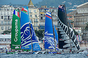 Groupama, The Wave, Gazprom and Emirates Team New Zealand. Day four of the Extreme Sailing Series Regatta at Nice. 5/10/2014