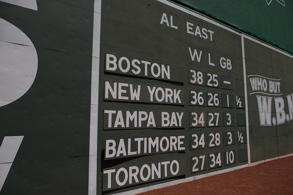 BOSTON, MA - JUNE 09:  The outfield scoreboard displays the standings in AL East at Fenway Park in Boston, Massachusetts on June 9, 2013. (Photo by Rob Tringali) *** Local Caption ***