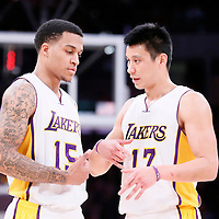 22 March 2015: Los Angeles Lakers guard Jeremy Lin (17) talks to Los Angeles Lakers guard Jabari Brown (15) during the Los Angeles Lakers 101-87 victory over the Washington Wizards, at the Staples Center, Los Angeles, California, USA.