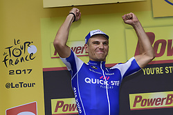 July 2, 2017 - Liege, Belgique - LIEGE, BELGIUM - JULY 2 : KITTEL Marcel (GER) Rider of Quick-Step Floors Cycling team pictured during the podium ceremony after winning during stage 2 of the 104th edition of the 2017 Tour de France cycling race, a  stage of 203 kms between Dusseldorf and Liege on July 02, 2017 in Liege, Belgium, 2/07/2017 (Credit Image: © Panoramic via ZUMA Press)