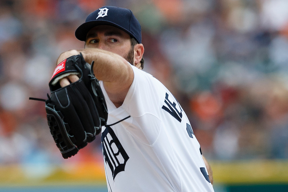 Jun 13, 2015; Detroit, MI, USA; Detroit Tigers starting pitcher Justin Verlander (35) pitches in the second inning against the Cleveland Indians at Comerica Park. Mandatory Credit: Rick Osentoski-USA TODAY Sports