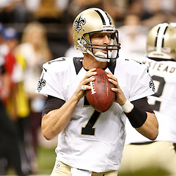 Aug 15, 2014; New Orleans, LA, USA; New Orleans Saints quarterback Luke McCown (7) against the Tennessee Titans during first quarter of a preseason game at Mercedes-Benz Superdome. Mandatory Credit: Derick E. Hingle-USA TODAY Sports