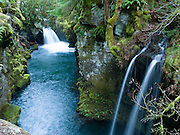 Two pretty waterfalls along the North Umpqua River, on the half-mile trail to Toketee Falls, Oregon, USA.