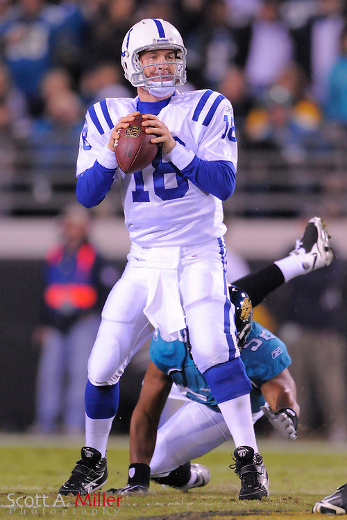 Dec. 17, 2009; Jacksonville, FL, USA; Indianapolis Colts quarterback Peyton Manning (18) in action against the Jacksonville Jaguars at Jacksonville Municipal Stadium. The Colts won. 35-31. ©2009 Scott A. Miller.© 2009 Scott A. Miller