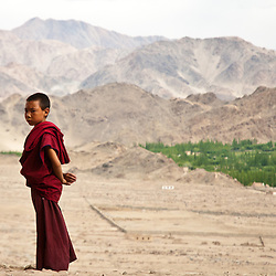 A young Buddhist monk stands on the wall of the Thiksey Gompa.
