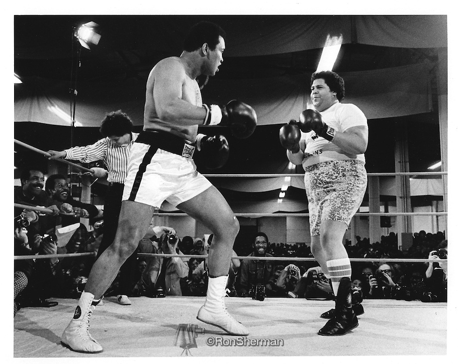 Boxer Mohammed Ali and Atlanta Mayor Maynard Jackson in Exhibition Boxing Match in Atlanta, Georgia in 1972.