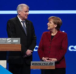 """20.11.2015, Messe Muenchen, Muenchen, GER, CSU Parteitag 2015, Festakt """"70 Jahre CSU"""", im Bild Bundeskanzlerin Dr. Angela Merkel mit Ministerpraesident Horst Seehofer am Rednerpult, // during ceremony """"70 years CSU"""" of CSU party convention in 2015 at the Messe Muenchen in Muenchen, Germany on 2015/11/20. EXPA Pictures © 2015, PhotoCredit: EXPA/ Eibner-Pressefoto/ Krieger<br /> <br /> *****ATTENTION - OUT of GER*****"""