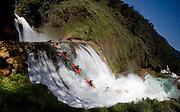 Rafael Ortiz kayaking in Santo Domingo river waterfalls in Chiapas