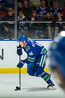KELOWNA, BC - SEPTEMBER 29:  Elias Pettersson #40 of the Vancouver Canucks skates with the puck up the ice against the Arizona Coyotes at Prospera Place on September 29, 2018 in Kelowna, Canada. (Photo by Marissa Baecker/NHLI via Getty Images)  *** Local Caption *** Elias Pettersson