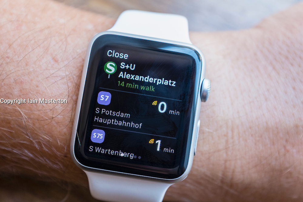 Transport transit guide app showing nearest public transport in Berlin on an Apple Watch