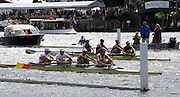 Henley, GREAT BRITAIN,  2012 Henley Royal Regatta. M4-, Nottingham Rowing Club 'A' (Bucks), and  Tideway Scullers School, TSS (Berks), in the Semi-Final, of the Princess Elizabeth Challenge Cup. Saturday  15:47:42  30/06/2012 [Mandatory Credit, Intersport-images] ..Rowing Courses, Henley Reach, Henley, ENGLAND . HRR.