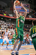 DESCRIZIONE : Madrid Spagna Spain Eurobasket Men 2007 Final 3rd 4th Place Grecia Lituania Greece Lithuania <br /> GIOCATORE : Ksistof Lavrinovic<br /> SQUADRA : Lituania Lithuania <br /> EVENTO : Eurobasket Men 2007 Campionati Europei Uomini 2007 <br /> GARA : Grecia Lituania Greece Lithuania <br /> DATA : 16/09/2007 <br /> CATEGORIA : Rimbalzo <br /> SPORT : Pallacanestro <br /> AUTORE : Ciamillo&Castoria/S.Silvestri <br /> Galleria : Eurobasket Men 2007 <br /> Fotonotizia : Madrid Spagna Spain Eurobasket Men 2007 Final 3rd 4th Place Grecia Lituania Greece Lithuania <br /> Predefinita :