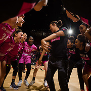 10 February 2018: The San Diego State Aztecs women's basketball team hosts Nevada on Play4Kay day at Viejas Arena. The lady Aztecs huddle at mid court prior to the start of the game against  the Nevada Wolf Pack.<br /> More game action at www.sdsuaztecphotos.com
