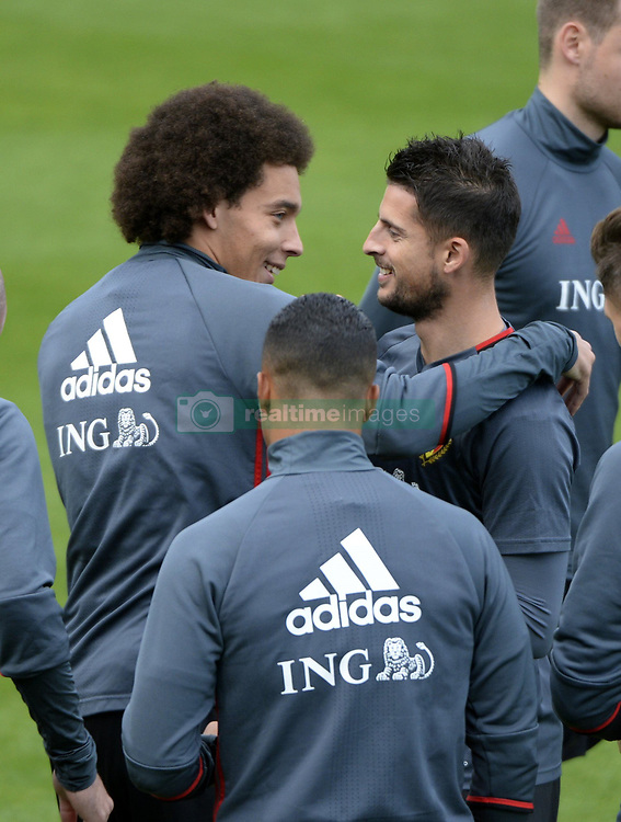 October 2, 2017 - Tubize, Belgique - TUBIZE, BELGIUM - OCTOBER 2 : Axel Witsel midfielder of Belgium and Kevin Mirallas forward of Belgium during training session of the National Soccer Team of Belgium prior to the World Cup 2018 qualification games against Bosnia and Herzegovina and Cyprus at the Belgian Football center on October 02, 2017 in Tubize, Belgium, 2/10/2017 (Credit Image: © Panoramic via ZUMA Press)