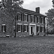 """Cobblestone Farm in Fall"" B&W<br />