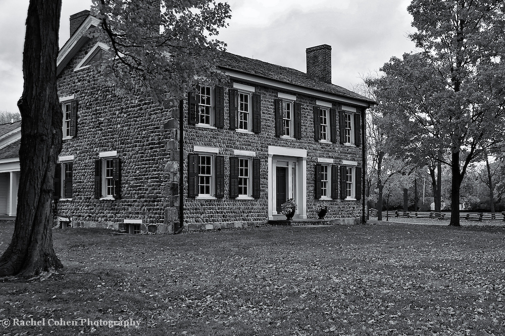 &quot;Cobblestone Farm in Fall&quot; B&amp;W<br />