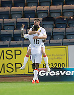 Partick Thistle&rsquo;s Kris Doolan is congratulated by Adebayo Azeez after scoring his side's second goal - Dundee v Partick Thistle in the Ladbrokes Scottish Premiership at Dens Park, Dundee. Photo: David Young<br /> <br />  - &copy; David Young - www.davidyoungphoto.co.uk - email: davidyoungphoto@gmail.com