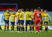 Oxford United players celebrate Oxford United Forward Jordan Bowery opening goal 1-0 during the Sky Bet League 2 match between Oxford United and York City at the Kassam Stadium, Oxford, England on 1 March 2016. Photo by Adam Rivers.
