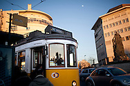 Lisbon's nº28 yellow tram at Prazeres station, starting his trip through the central, most historic region of the city.