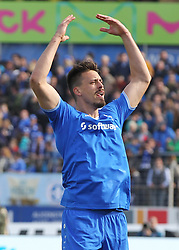 16.04.2016, Merck Stadion am Boellenfalltor, Darmstadt, GER, 1. FBL, SV Darmstadt 98 vs FC Ingolstadt 04, 30. Runde, im Bild vl. Tor zum 2:0 Sandro Wagner (SV Darmstadt 98) Torjubel Konstantin Rausch (SV Darmstadt 98) Sandro Wagner (SV Darmstadt 98) // during the German Bundesliga 30th round match between SV Darmstadt 98 and FC Ingolstadt 04 at the Merck Stadion am Boellenfalltor in Darmstadt, Germany on 2016/04/16. EXPA Pictures © 2016, PhotoCredit: EXPA/ Eibner-Pressefoto/ Voelker<br /> <br /> *****ATTENTION - OUT of GER*****