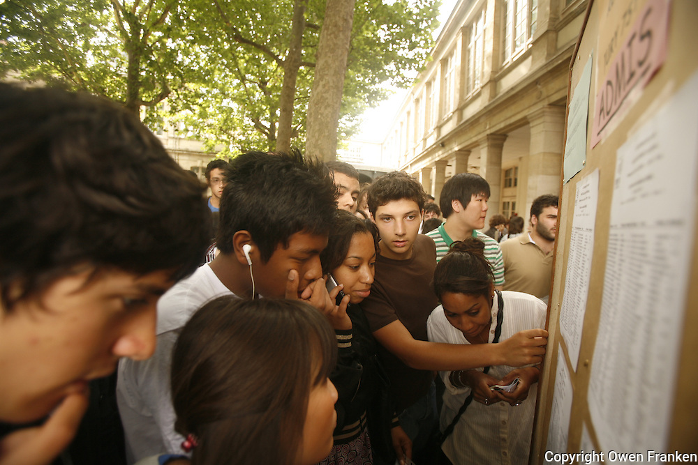 highschool students in paris receive their test results for their Baccalaureate...photo by Owen Franken..www.owenfranken.com