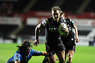 Ashley Beck of the Ospreys runs in to score his try. Heineken cup, season 2012-2013, pool 2 match, Ospreys v Benetton Treviso at the Liberty Stadium in Swansea, South Wales on Friday 12th October 2012.  pic by  Andrew Orchard, Andrew Orchard sports photography,