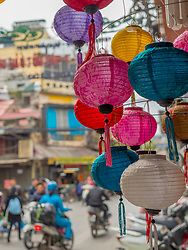 Asia, Vietnam, Hanoi, old quarter. Paper lanterns for sale.