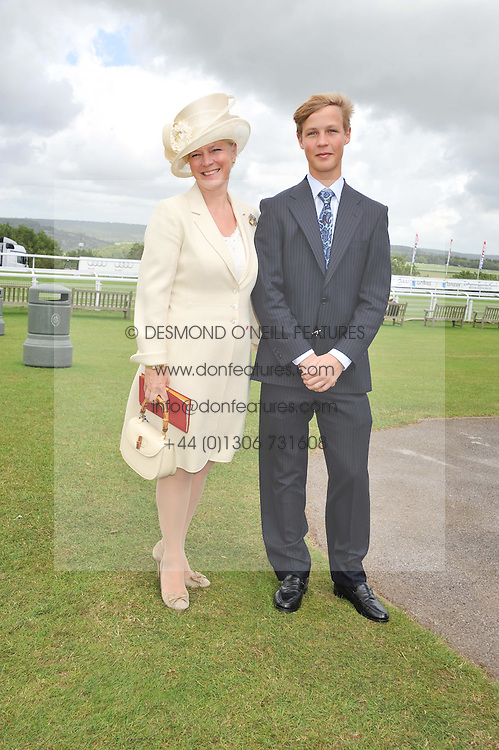 The COUNTESS OF MARCH and her son the HON.WILLIAM GORDON-LENNOX at the 3rd day of the 2012 Glorious Goodwood racing festival at Goodwood Racecourse, West Sussex on 2nd August 2012.
