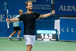Constant Lestienne (FRA) celebrates after winning during Final Singles match against Andrea Arnaboldi (ITA) at Day 9 of ATP Challenger Zavarovalnica Sava Slovenia Open 2018, on August 11, 2018 in Sports centre, Portoroz/Portorose, Slovenia. Photo by Vid Ponikvar / Sportida