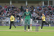 Alex Hales given out during the NatWest T20 Blast Quarter Final match between Notts Outlaws and Somerset County Cricket Club at Trent Bridge, West Bridgford, United Kingdom on 24 August 2017. Photo by Simon Trafford.