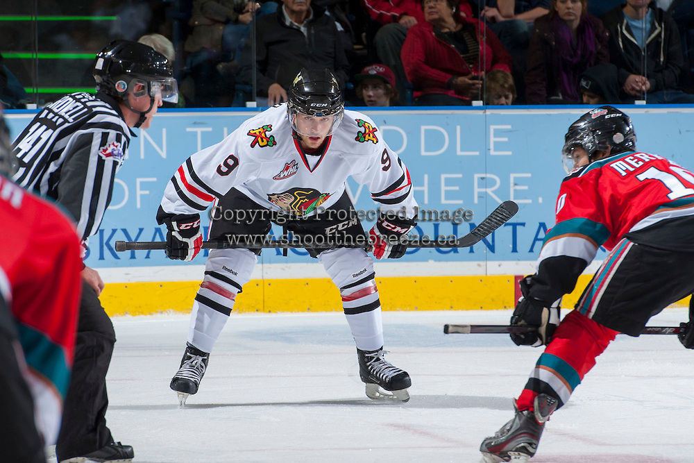 KELOWNA, CANADA - OCTOBER 4:  Chase De Leo #9 of the Portland Winterhawks lines up against the Kelowna Rockets  at the Kelowna Rockets on October 4, 2013 at Prospera Place in Kelowna, British Columbia, Canada (Photo by Marissa Baecker/Shoot the Breeze) *** Local Caption ***