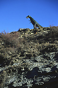 Replica of Tarbosaurus dinosaur at Valdecevillo site in ENCISO La Rioja region Spain