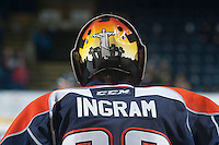 KELOWNA, CANADA - DECEMBER 17: Connor Ingram #39 of Kamloops Blazers stands in net against the Kelowna Rockets on December 27, 2014 at Prospera Place in Kelowna, British Columbia, Canada.  (Photo by Marissa Baecker/Shoot the Breeze)  *** Local Caption *** Connor Ingram;