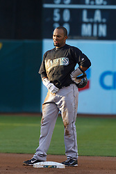 June 29, 2011; Oakland, CA, USA; Florida Marlins left fielder Emilio Bonifacio (1) stands at second base against the Oakland Athletics during the first inning at the O.co Coliseum.  Florida defeated Oakland 3-0.